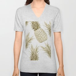 Gold Pineapple Party Unisex V-Neck