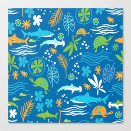 Sharks, Sting Rays and Turtles Canvas Print