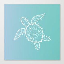 Sea Turtle Henna on aqua Canvas Print
