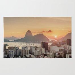 View over Botafogo towards the Sugarloaf Mountain at sunrise, Rio de Janeiro, Brazil Rug