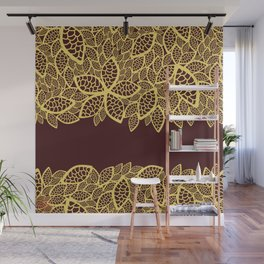 Oriental Persian Paisley, Leaves - Red Yellow Wall Mural