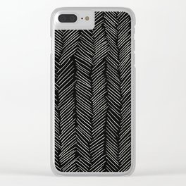 Herringbone Cream on Black Clear iPhone Case