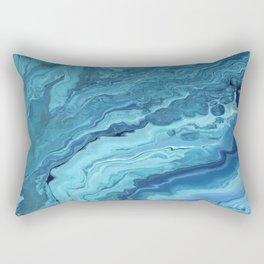 Teal Geode: Acrylic Pour Painting Rectangular Pillow