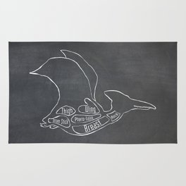 Pterodactyl Dinosaur (A.K.A Flying Reptile - Pterodactylus) Butcher Meat Diagram Rug