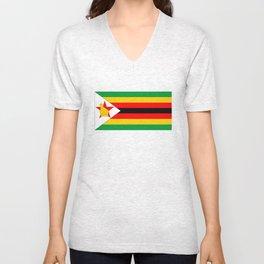 Zimbabwe country flag Unisex V-Neck