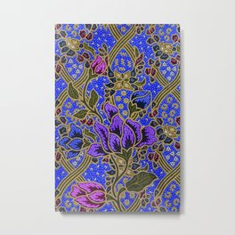Neon Blue Purple Floral Pattern Leafs Metal Print