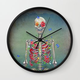 Blooming skeleton on the grunge background  Wall Clock