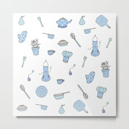 Kitchen Pattern Print! Metal Print