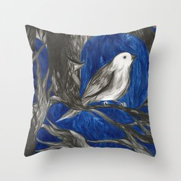 Finch on Branch Throw Pillow