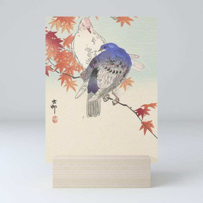 Two pigeons on the autumn branch Mini Art Print