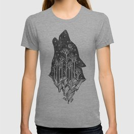 Adventure Wolf - Nature Mountains Wolves Howling Design Black on Pale Pink T-shirt