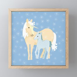 Unicorns. Mom and baby Framed Mini Art Print