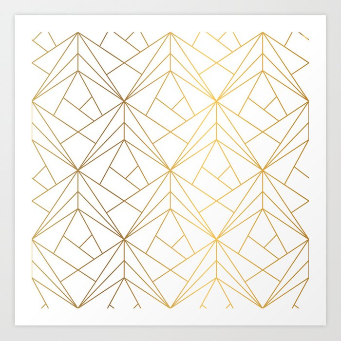 Golden Diagonal lines Pattern Art Print
