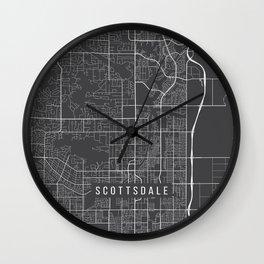 Scottsdale Map, Arizona USA - Charcoal Portrait Wall Clock