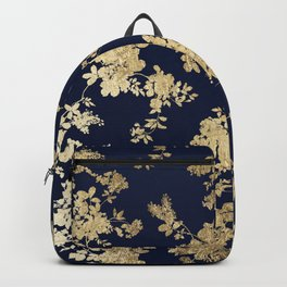 Elegant vintage navy blue faux gold flowers Backpack