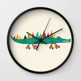 Crocodile on Roller Skates Wall Clock