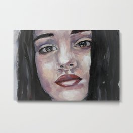 Portrait of beautiful girl, face, original art, oilpainting Metal Print