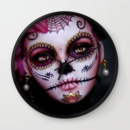 Mexican Hibiscus Day of the Dead Skull Wall Clock