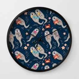 Otters Playing Wall Clock
