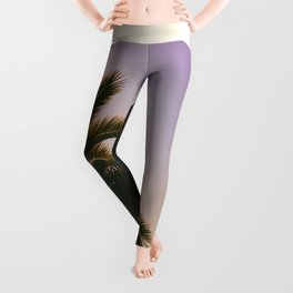 Sunset Purple Palm Tree Circle Photo Leggings