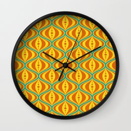 Retro Psychedelic Saucer Pattern in Orange, Yellow, Turquoise Wall Clock