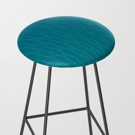 Wave pattern in teal Bar Stool