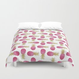 Ombre Pink Illustrated Pineapple Duvet Cover