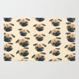cartoon cute puppy dog fawn pug pattern Rug