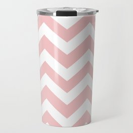 Tea rose - pink color - Zigzag Chevron Pattern Travel Mug