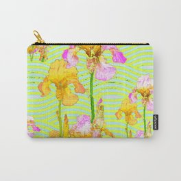 Contemporary Vibrant, Yellow-Purple Iris Pattern Art Carry-All Pouch
