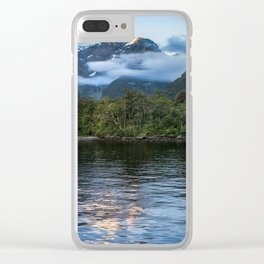 Sunset in beautiful Harrison Cove at Milford Sound Clear iPhone Case