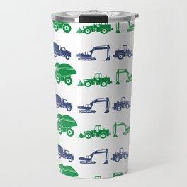 Blue and Green Construction Vehicles Travel Mug