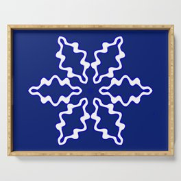 Snowflake on Blue Serving Tray
