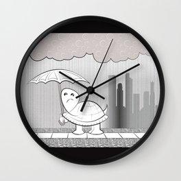 Rainy Day, Sad Turtle Wall Clock