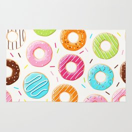 Colorful top view donuts and sprinkles pattern Rug