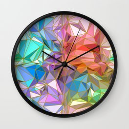 Sparkling Crystal Colourful Crystalline with Gold Lines Wall Clock