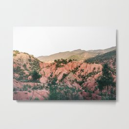 Orange mountains of Ourika Morocco   Atlas Mountains near Marrakech Metal Print
