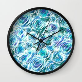 Textured Roses Blue Amanya Design Wall Clock