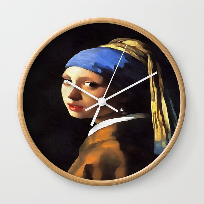 Girl with a Pearl Earring After Johannes Vermeer Wall Clock
