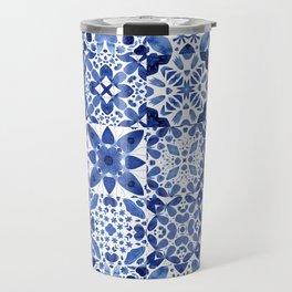 Indigo Watercolor Tiles Travel Mug