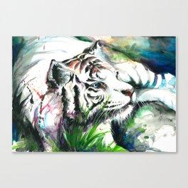 WHITE TIGER WATERCOLOR Canvas Print