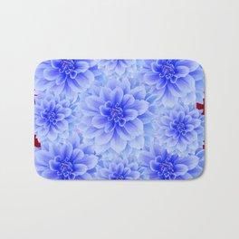 BLUE WHITE DAHLIA FLOWERS IN CHOCOLATE BROWN Bath Mat