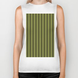 Olive Green Stripes Pattern Biker Tank