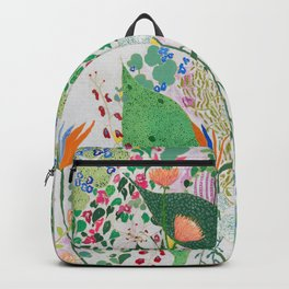 Painterly Floral Jungle on Pink and White Backpack