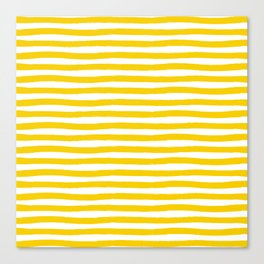Yellow And White Horizontal Stripes Canvas Print