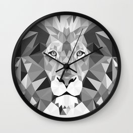 Large Silver Lion Head Wall Clock