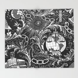 Black and White Woven IOOF Symbolism Tapestry Throw Blanket