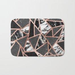 Modern Rose Gold Glitter Marble Geometric Triangle Bath Mat