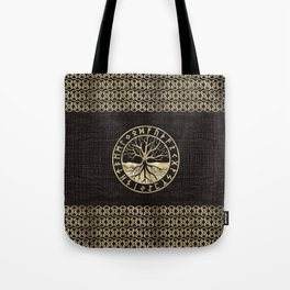 Tree of life  -Yggdrasil and  Runes on wooden texture Tote Bag