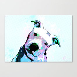 Pit bull - Puzzled - Pop Art Canvas Print